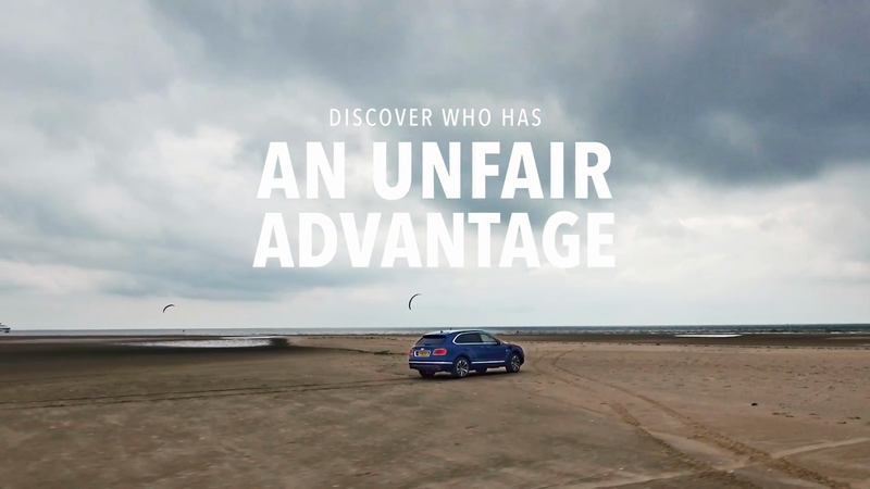 Tinderflint race new Bentley Bentayga against World Championship Kite Surfers in Denmark.