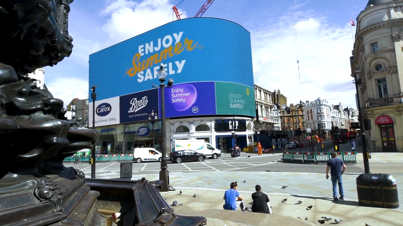 'Enjoy Summer Safely' - Piccadilly Lights